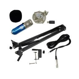 Kit De Microfono De Estudio Condensador Usb Azul G-101-Kit