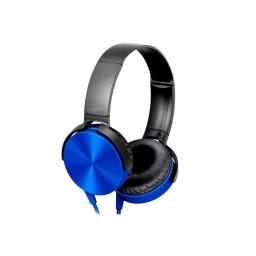 Auricular Vincha Jack 3.5 Ledstar La450 Con Microfono Azul